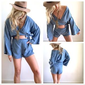 Free People Denim Romper Cut Out Middle bow Tie M